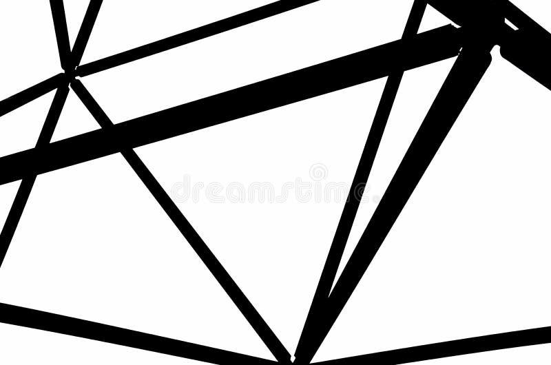 O detalhe da construção de aço incrível do tetraedro em Bottrop, Alemanha capturou na fotografia preto e branco fotos de stock