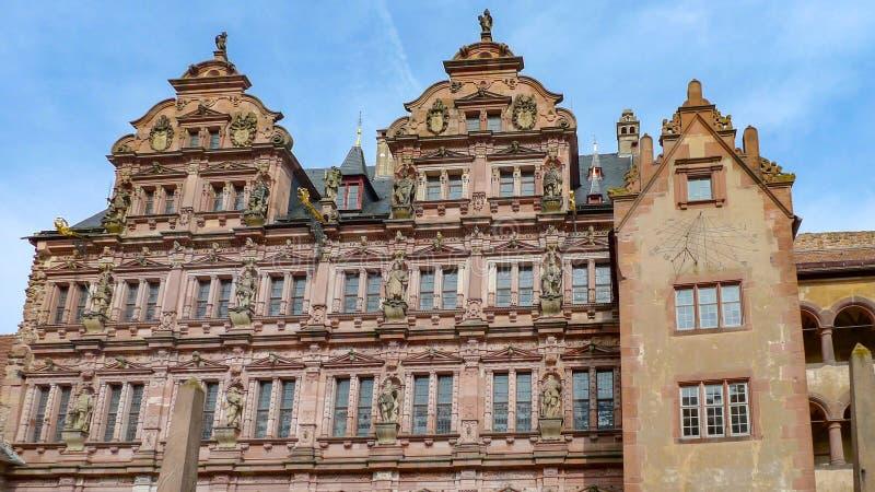 O detalhe da fachada de castlee de heidelberg em heidelberg, Alemanha foto de stock