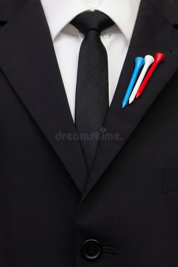 O detalhe de terno do casamento com projeto do golfe fotos de stock royalty free