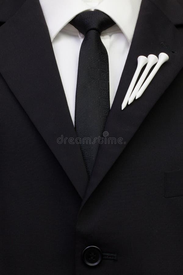 O detalhe de terno do casamento com projeto do golfe fotos de stock