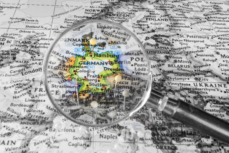 O detalhe do mapa de Alemanha foto de stock