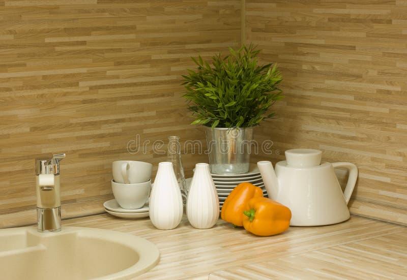 O detalhe moderno da cozinha foto de stock royalty free