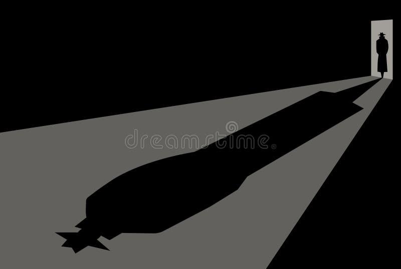 O detetive entra na porta ilustração stock