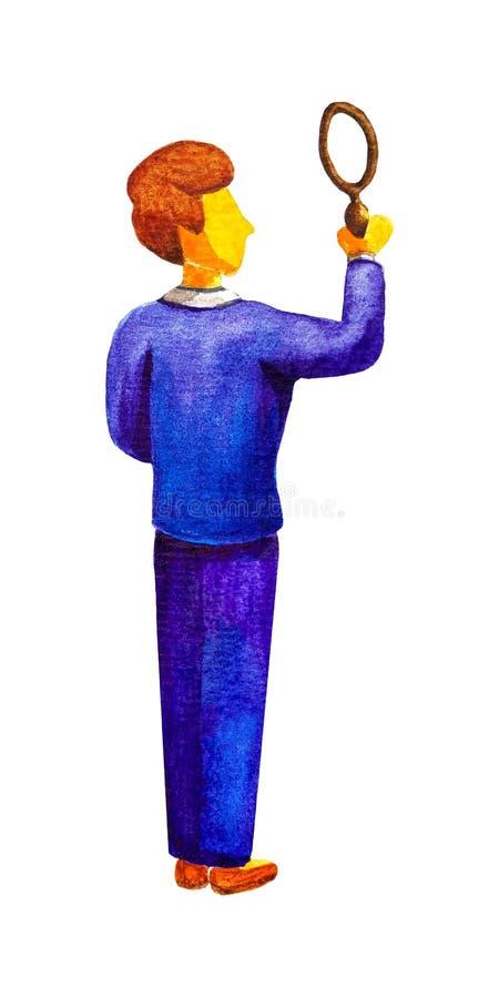 O detetive masculino novo do investigador do homem de negócios em um terno de negócio azul que guarda uma lupa, está traseiro Est ilustração do vetor