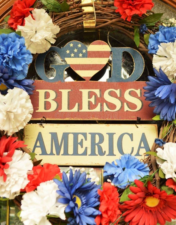 O deus abençoa o sinal de América foto de stock