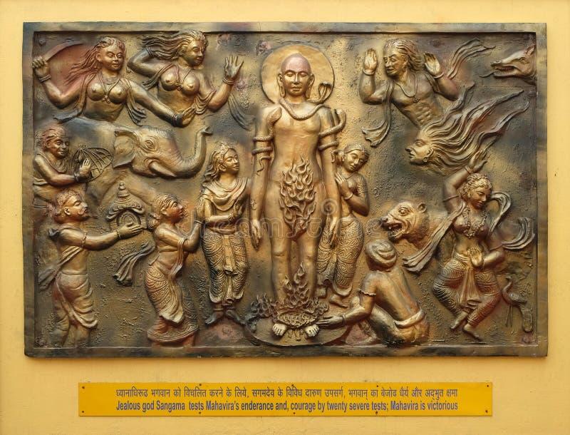 O deus ciumento Sangama testa o enderance de Mahaviras e, coragem por vinte testes severos: Mahavira é victorius fotos de stock royalty free