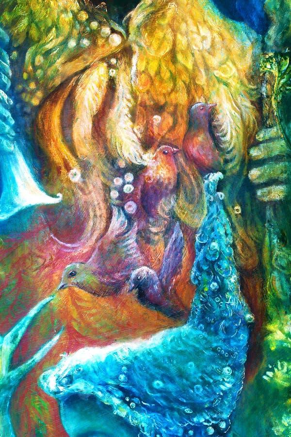 O deus de sol dourado, a deusa da água azul, a criança feericamente e um pássaro de phoenix, imaginação da fantasia detalharam a  ilustração royalty free