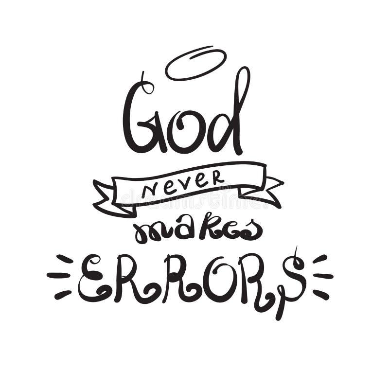 O deus nunca faz erros - rotulação inspirador das citações, cartaz religioso Rotulação bonita tirada mão Cópia para o cartaz, ora ilustração royalty free