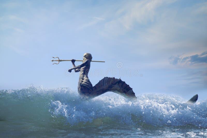 O deus poderoso do mar e dos oceanos Netuno Poseidon, Triton fotografia de stock