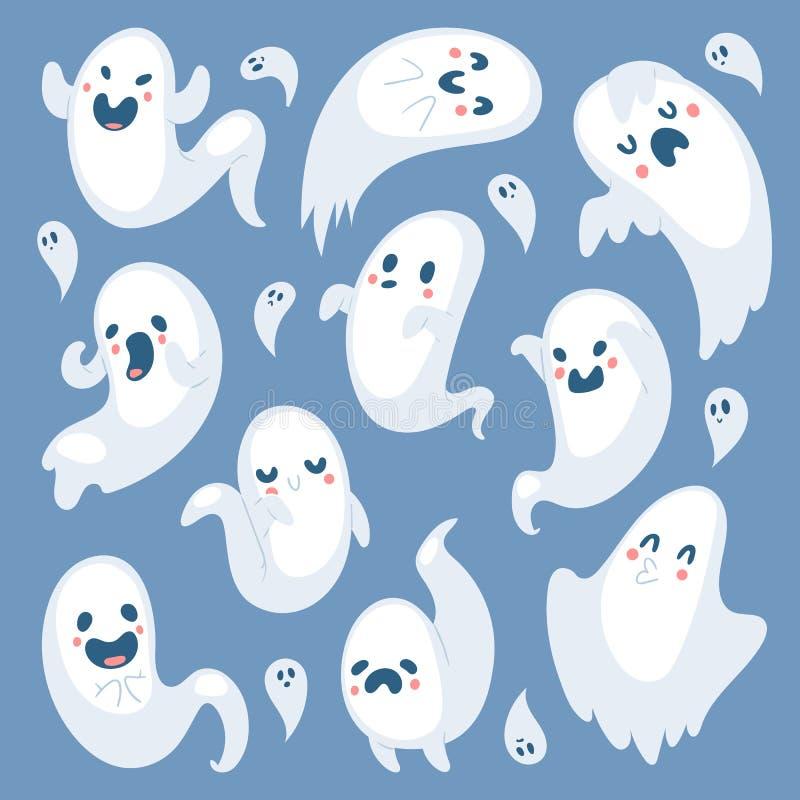 O dia assustador de Dia das Bruxas do fantasma dos desenhos animados comemora da silhueta má assustador do traje do monstro do ca ilustração do vetor