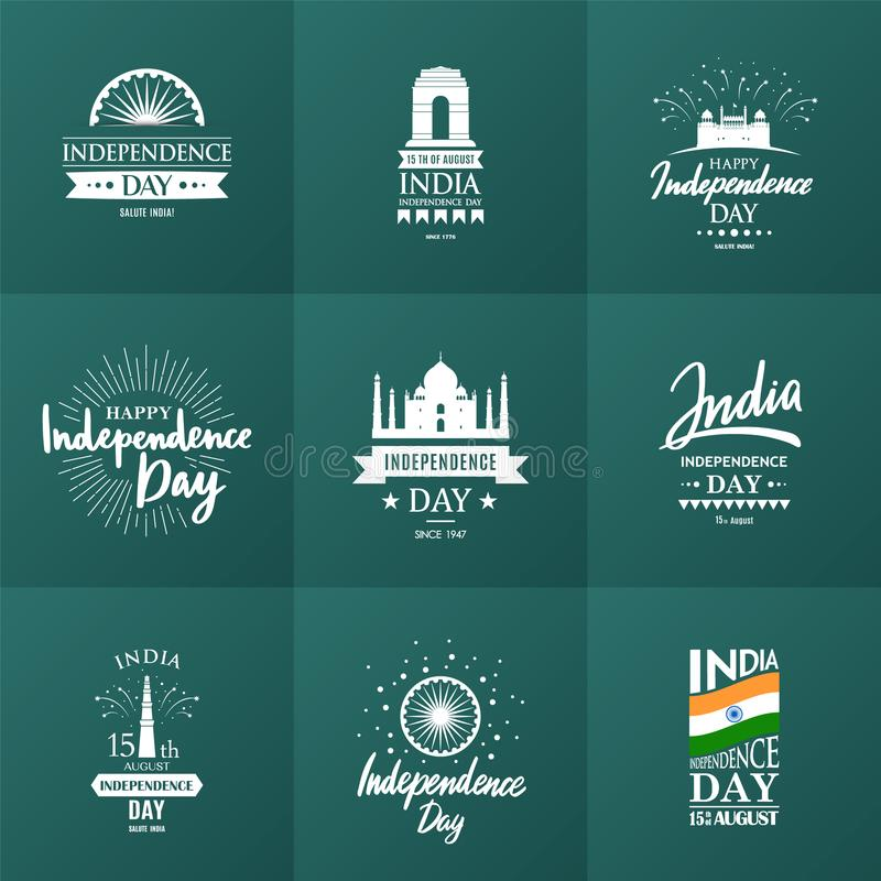 O Dia da Independência da Índia, ajustou-se o 15 de agosto de emblemas ou de crachás tipográficos do vetor ilustração do vetor