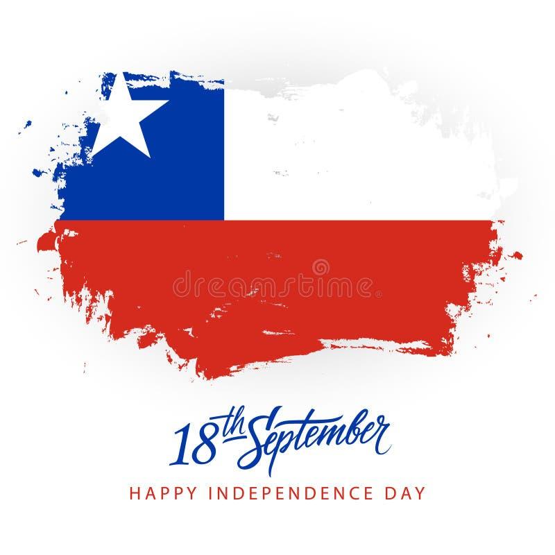 O Dia da Independência do Chile, o 18 de setembro o cartão com rotulação da mão e a bandeira nacional chilena escovam o fundo do  ilustração royalty free