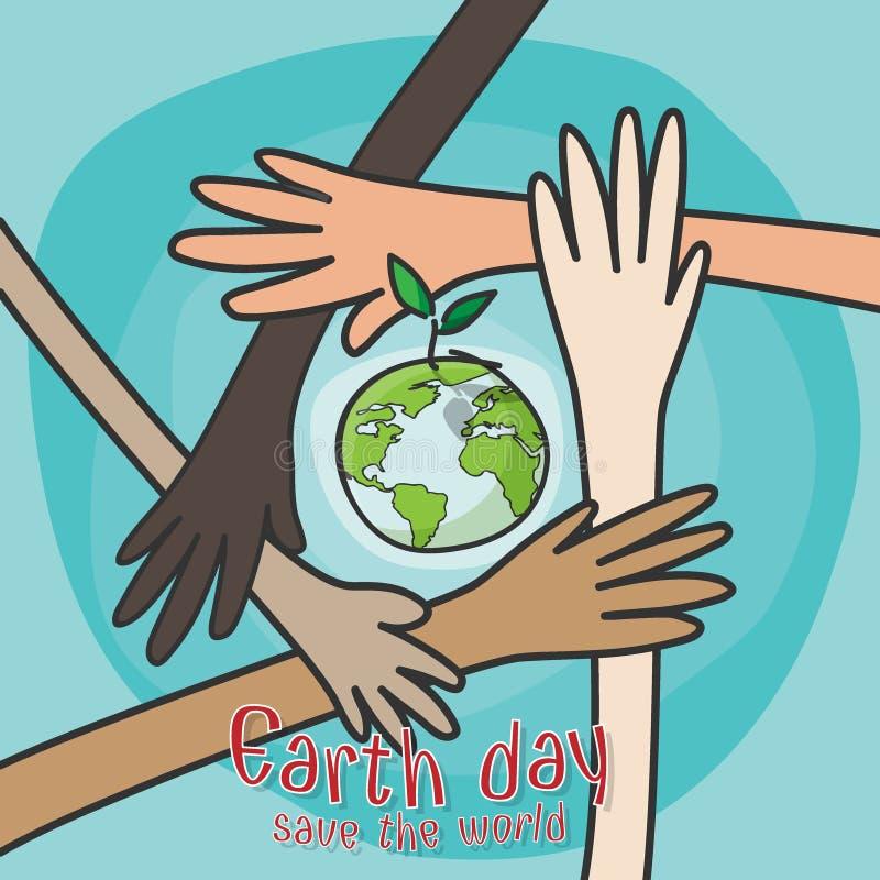 O Dia da Terra feliz, salvar o conceito do mundo mãos dos povos das nacionalidades diferentes que trabalham junto para o ambiente ilustração do vetor