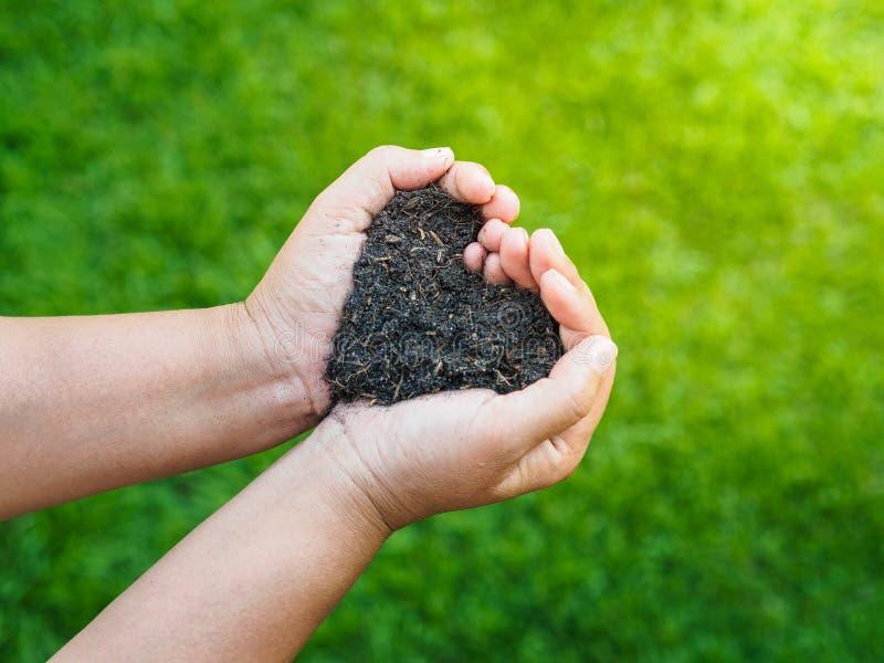 O Dia da Terra, salvar a terra, conceito do amor a mão da mulher que guarda a imagens de stock