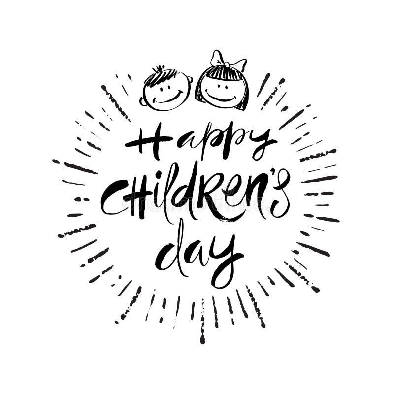 O dia das crian?as felizes - ilustra??o tirada m?o do vetor As caras das crianças do cumprimento e do sorriso da caligrafia da es ilustração do vetor