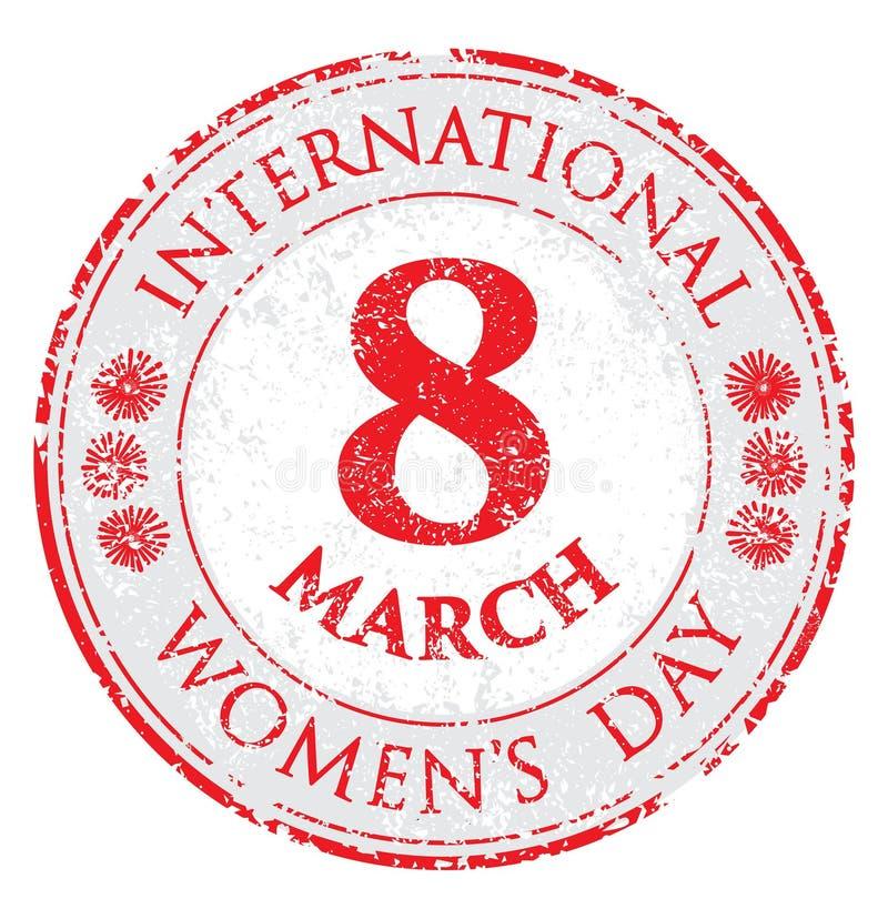O dia das mulheres do grunge do carimbo de borracha, ilustração do vetor para o 8 de março ilustração stock
