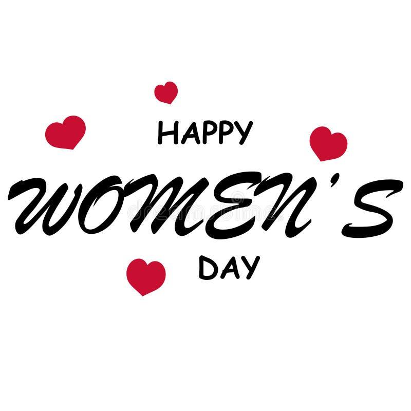 o dia das mulheres felizes com fundo vazio do coração ilustração royalty free
