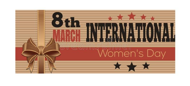 O dia das mulheres internacionais Cartão retro do estilo 8 de março ilustração stock
