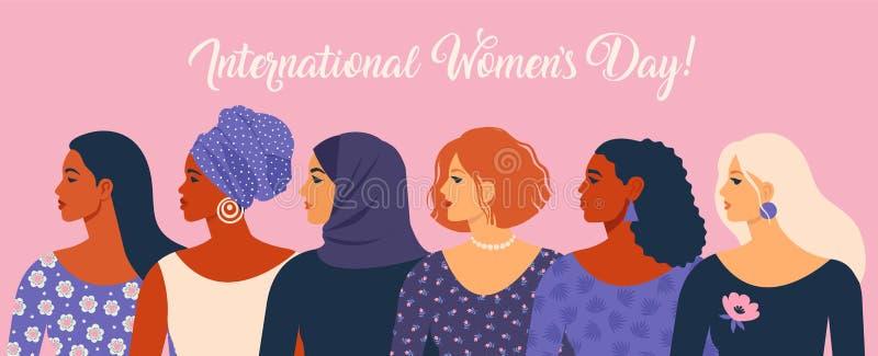 O dia das mulheres internacionais Ilustração do vetor com nacionalidades e culturas diferentes das mulheres ilustração do vetor