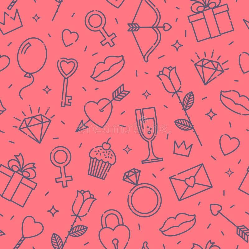 O dia das mulheres internacionais ou do dia de Valentim teste padrão sem emenda ilustração do vetor