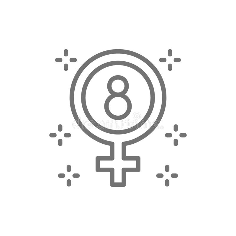 O dia das mulheres internacionais, símbolo do gênero, sinal fêmea, linha ícone do feminismo ilustração stock