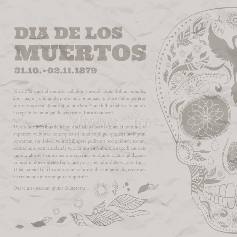 O dia de Dia de Muertos Tattoo Skull Ornate do cartaz do vintage dos mortos danificou o papel ilustração royalty free