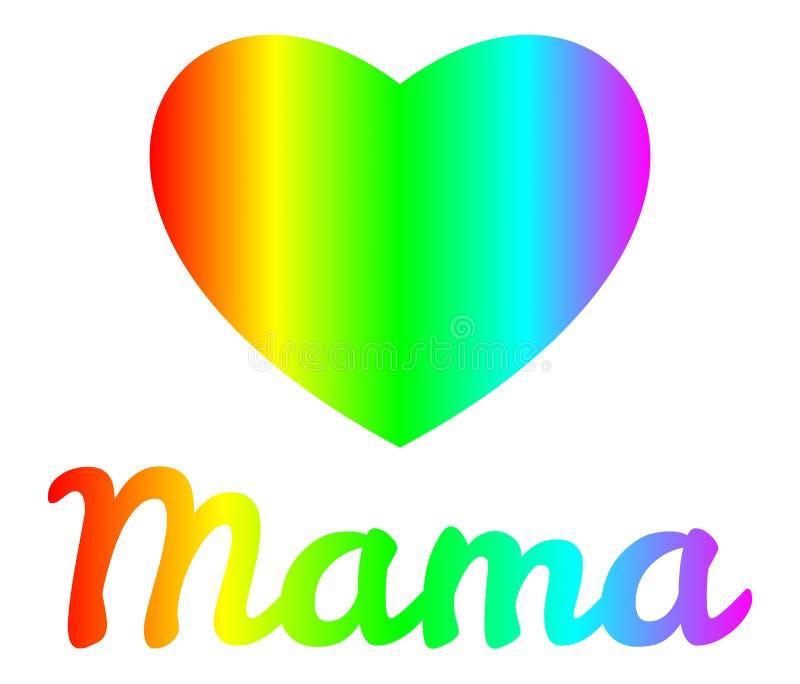 O dia de mãe - arco-íris do coração da mamãe ilustração stock