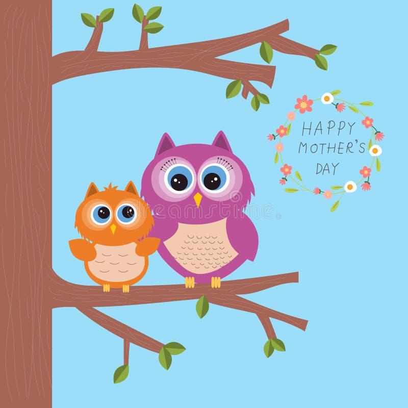 O dia de mãe feliz com abraço bonito da coruja seu crianças ou bebê sobre ilustração do vetor
