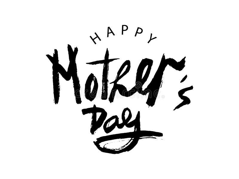 O dia de mãe feliz preto da rotulação escrita à mão do vetor no fundo branco ilustração royalty free