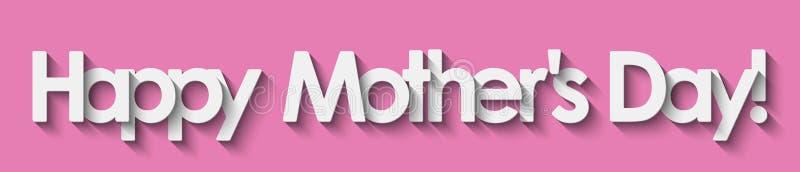 O dia de mãe feliz! Rotulação branca isolada no fundo cor-de-rosa ilustração royalty free