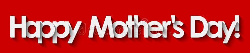 O dia de mãe feliz! Rotulação branca isolada no fundo vermelho ilustração do vetor