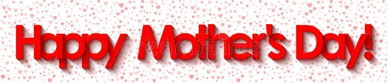 O dia de mãe feliz! Rotulação vermelha no fundo branco com corações ilustração stock