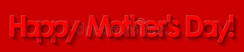 O dia de mãe feliz! Rotulação vermelha no fundo vermelho ilustração do vetor