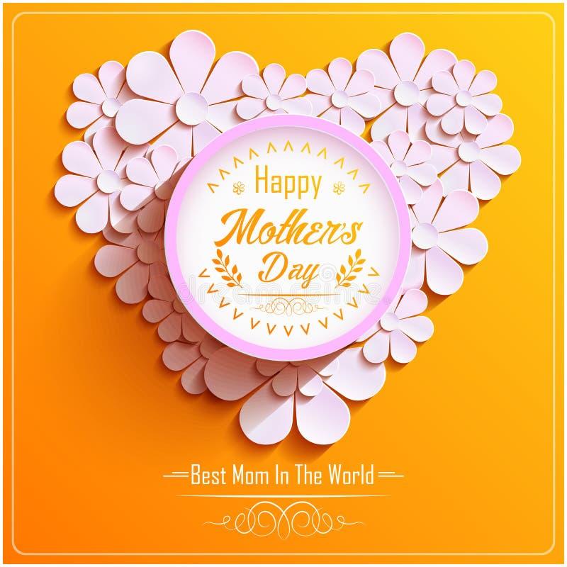 O dia de mães feliz com quadro redondo brilhante bonito com 3d cor-de-rosa floresce a camomila ilustração stock