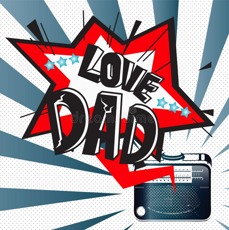 O dia de pai feliz com rádio fotografia de stock