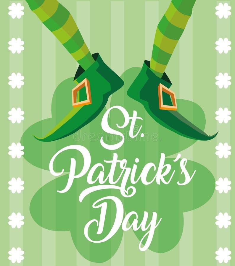 O dia de St Patrick e paga do duende com botas ilustração do vetor