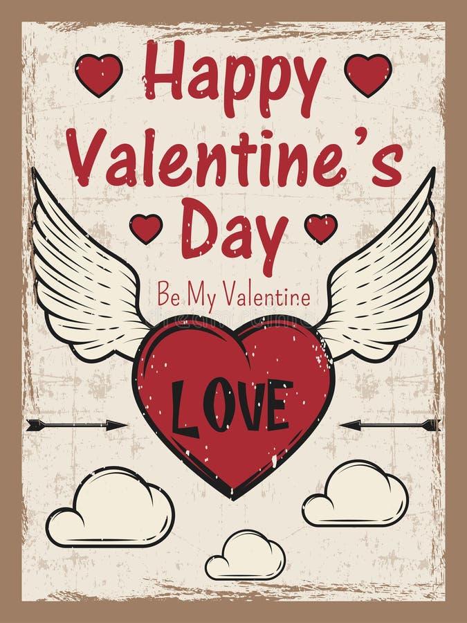 O dia de Valentim coloriu o cartaz do vintage com coração com seta e asas, nuvens Molde do cartão do dia de Valentim ilustração stock