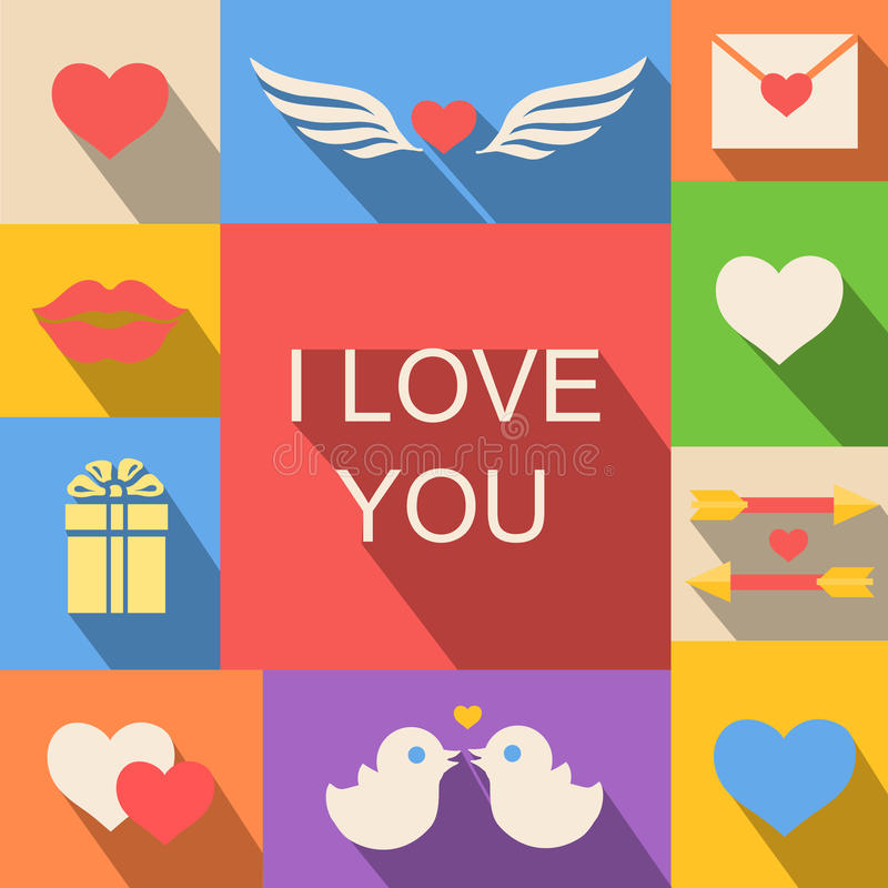 O dia de Valentim e o fundo dos ícones do casamento liso ilustração stock
