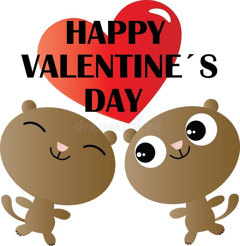 O dia de Valentim feliz ama dois cães doces romances ilustração stock