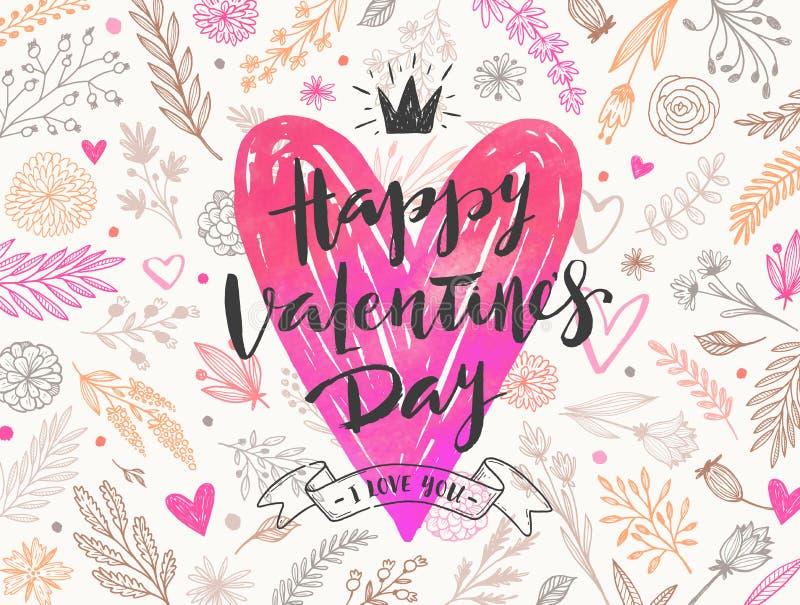 O dia de Valentim feliz - cartão ilustração do vetor