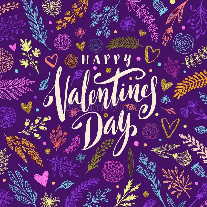 O dia de Valentim feliz - cartão ilustração stock