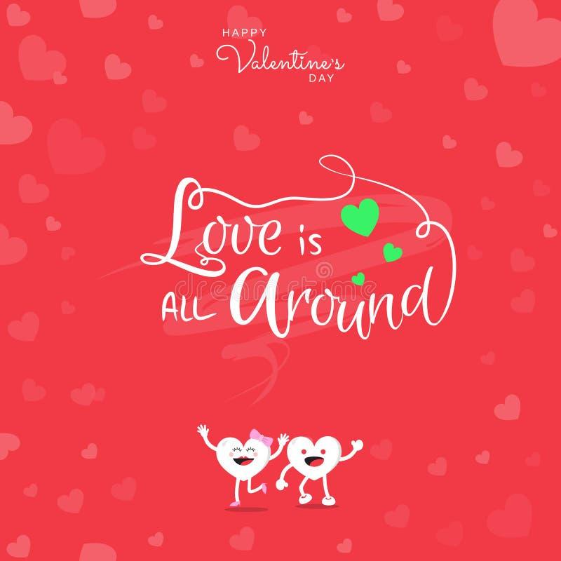 O dia de Valentim feliz com amor escrito à mão está toda ao redor no fundo vermelho ilustração do vetor
