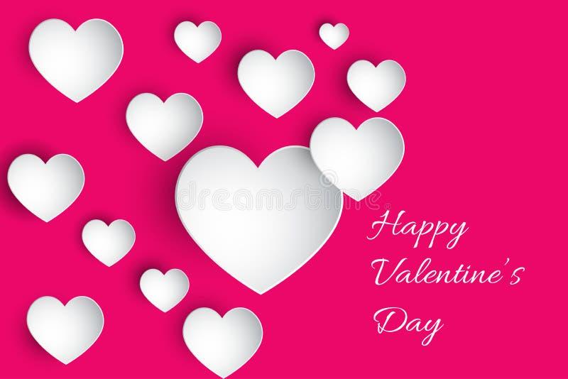 O dia de Valentim feliz! Coração bonito! Corações de papel abstratos da arte 3D no fundo cor-de-rosa Cartão do dia dos Valentim ilustração royalty free