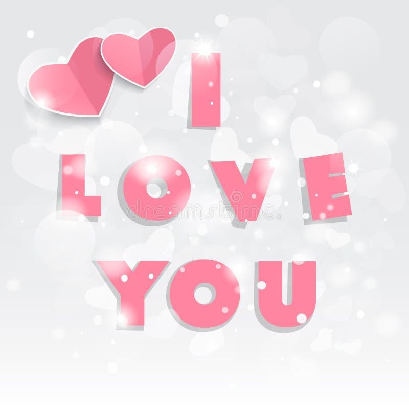 O dia de Valentim feliz! Corações e texto vermelhos eu te amo ilustração royalty free