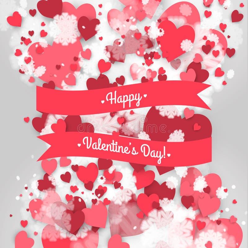 O dia de Valentim feliz do St! Fundo abstrato com fita e flocos de neve e corações do voo ao dia do Valentim do St ilustração do vetor