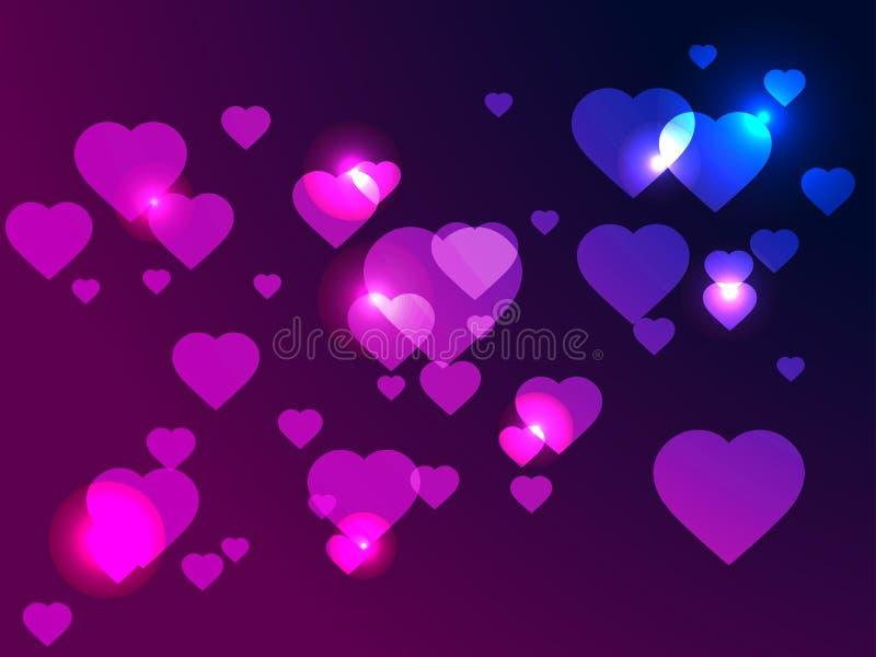 O dia de Valentim feliz, 14o de fevereiro Corações brilhantes no fundo com inclinação violeta, efeito do bokeh Vetor ilustração stock