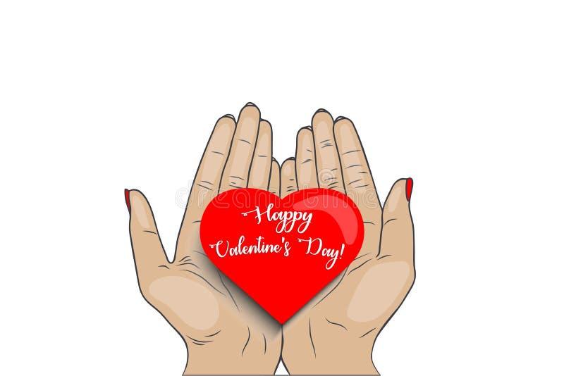 O dia de Valentim feliz! ilustração do vetor - as mãos das mulheres guardam o coração ilustração do vetor