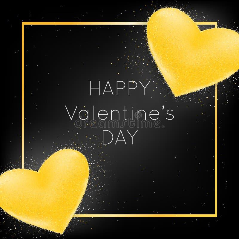 O dia de Valentim feliz que rotula o cartão com corações dourados com sparkles no fundo preto ilustração do vetor