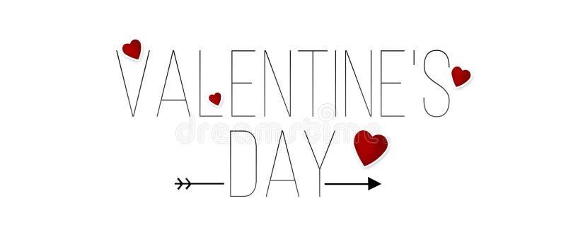 O dia de Valentim feliz que rotula o fundo do texto com coração vermelho ilustração do vetor