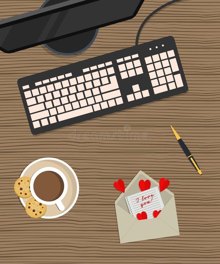 O dia de Valentim no escritório Vista superior da mesa ilustração royalty free